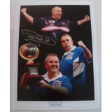Phil 'The Power' Taylor Signed 12x16 Darts Montage Photograph