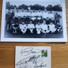 Hurst, Peters, Charlton & Greaves Signed England 1982 World Cup Card & Photograph