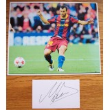 Javier Mascherano Signed White Card & 8x 10 Barcelona Photograph