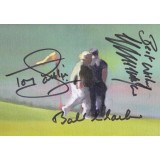 Colin Montgomery, Bob Charles, Tony Jacklin  Signed 4x6 Golf Card Hoylake Inspired