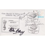 Alan Ball, Howard Kendall  & Colin Gray, Signed 1982 Spanish World Cup FDC