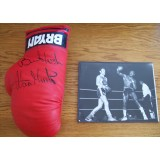 Alan Minter Signed Boxing Glove With Hagler Fight Photograph