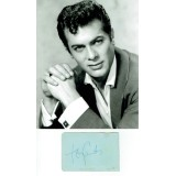 Tony Curtis Signed Album Page & 8x10 of A Young Tony Curtis Photograph