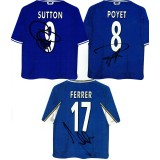Chelsea Car Shirt Badges Signed By Chris Sutton, Albert Ferrer & Gustavo Poyet