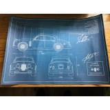 Ian Callum & John Surtees Signed Blue Print Poster From The Callum Mk II Jaguar Press launch