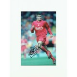 Steven Gerrard Signed 10x13 Liverpool Mounted Photograph Display