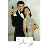 Pierce Brosnan Signed White Card & 16x12 Tomorrow Never Dies Photograph