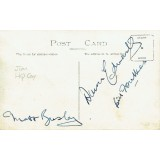 Manchester Utd Busby Babes Autographs Vintage Postcard Signed by Duncan Edwards, Matt Busby & Bill F