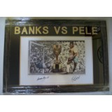 Pele vs Banks Dual Signed Large 12x16 Greatest Ever Save Framed Photograph