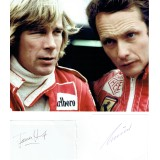 James Hunt & Niki Lauda Autographs Together With 8x10 Photograph
