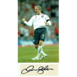 David Beckham Massive Signature On A 7x2 Inch Piece Of Canvas Cutting & England 8x12 Photograph