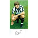 Peter Beardsley Signed 5x3 Inch Card and 8x12 Newcastle Utd Photograph