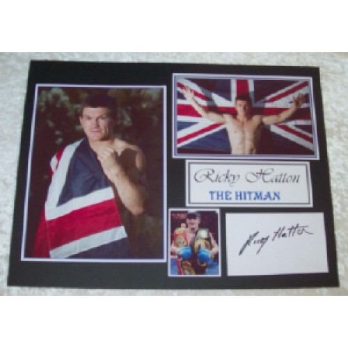Ricky Hatton Signed Card Mounted Montage!