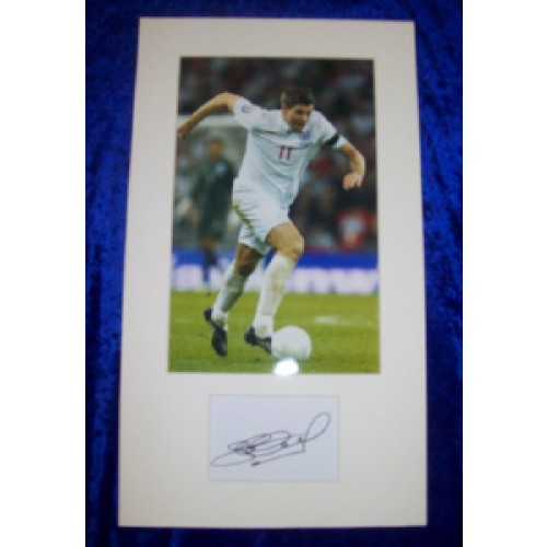 Steven Gerrard Autograph Cut Signature Mounted With 7x11 England Photograph