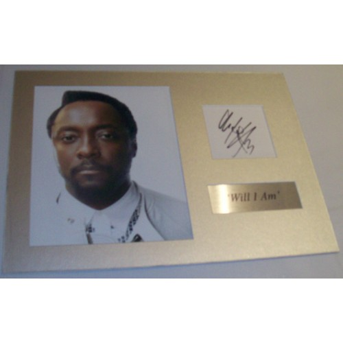 'Will I Am' Signed Index Card & Mounted Photograph Display