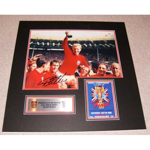 Geoff Hurst signed England 1966 World Cup Mounted Display