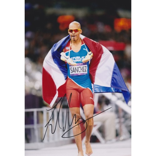 Felix Sanchez Signed 8x12 London 2012 Olympic Champion Photo!!