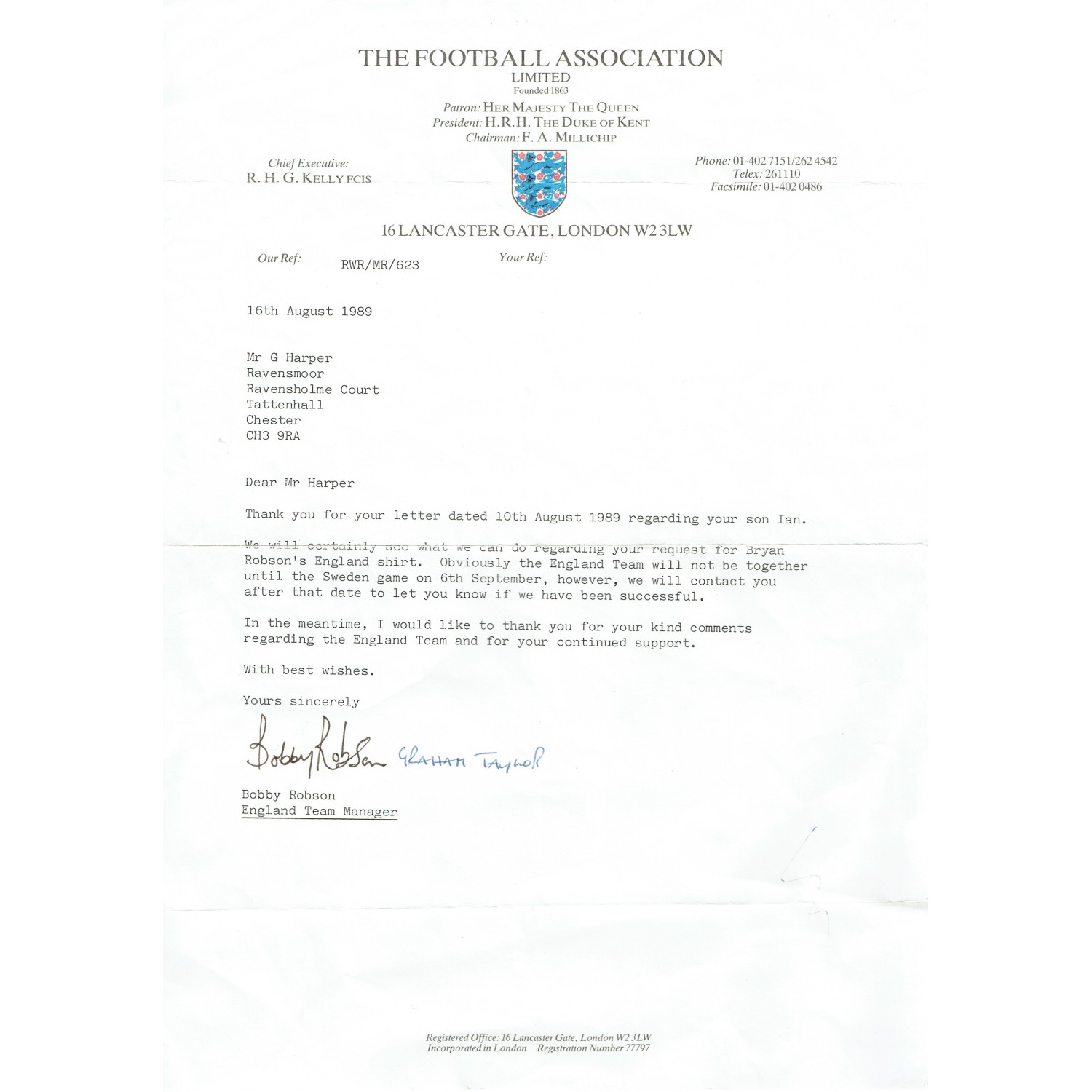 Bobby Robson and Graham Taylor Dual Signed FA England Football Letter