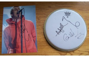 Oasis Band Signed Drum Skin & Liam Gallagher Signed 8x12 Photograph