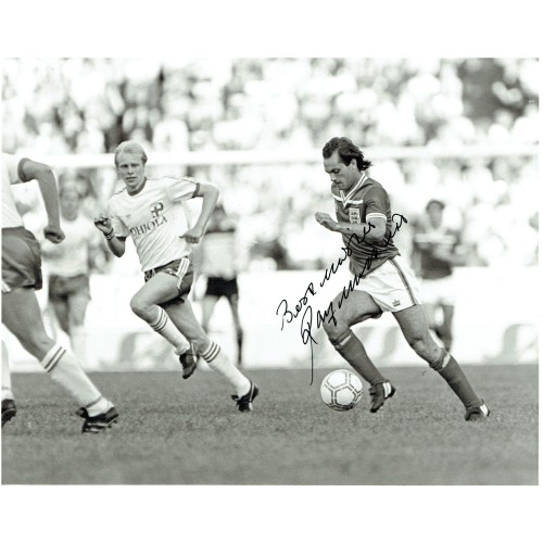Ray Wilkins (1956-2018) Signed 1982 Finland v England 8x10 Press Photograph