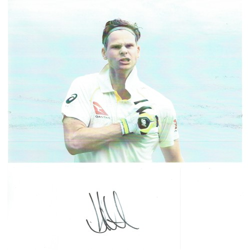 Steve Smith Australia Cricketerc Signed White Postcard (Photo Not Included)