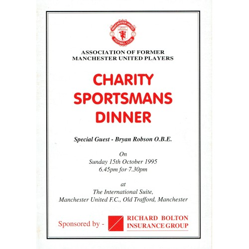 Bryan Robson Signed Manchester United Charity Christmas Dinner Menu Card