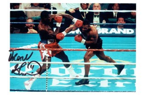 Frank Bruno Signed 8 x 10 Photograph In Action Against Mike Tyson