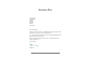 Stephen Fry Signed A4 Letter Headed Paper