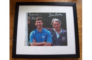 Bobby Robson & Bryan Robson Dual Signed Framed England 1990 World Cup Photo Display