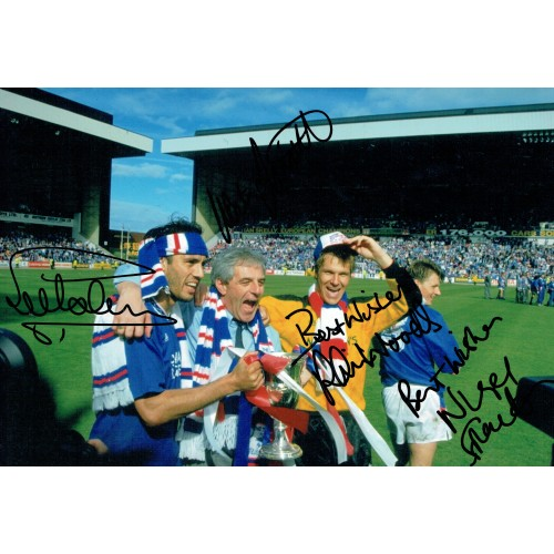 Glasgow Rangers 1991 Multi Signed By Hateley, Smith, Woods & Spackman 12 x 8 Photo