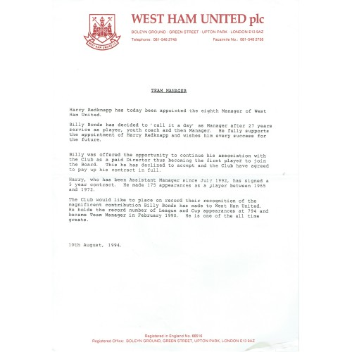 West Ham Utd -1994 Billy Bonds Sacking Original Letter & Appointment of Harry Redknapp