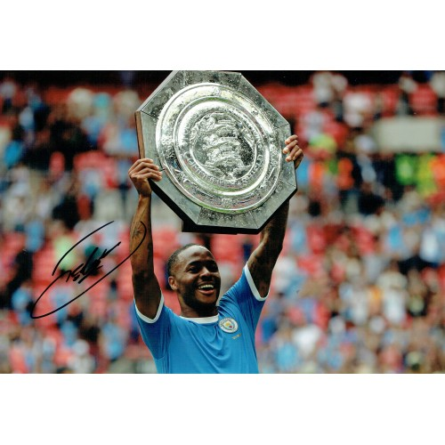 Raheem Sterling Signed Manchester City 12x8 Community Shield Photograph
