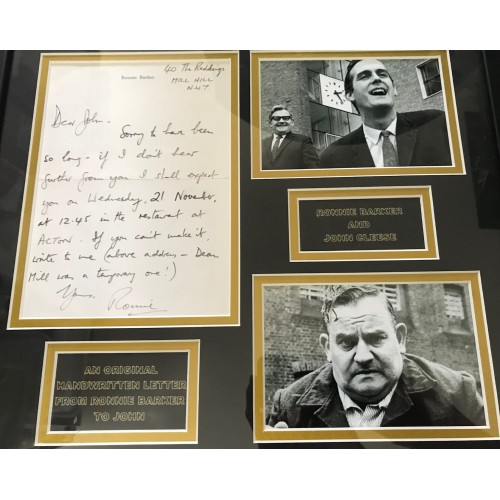 Ronnie Barker Signed Rare Handwritten Letter From Ronnie Barker To John Cleese Framed Display