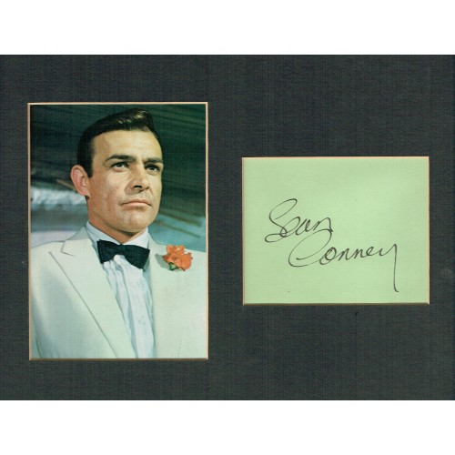 Sean Connery Vintage Autograph Mounted With Photograph From Goldfinger